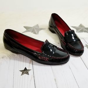 Cole Haan black patent leather loafers red stitch